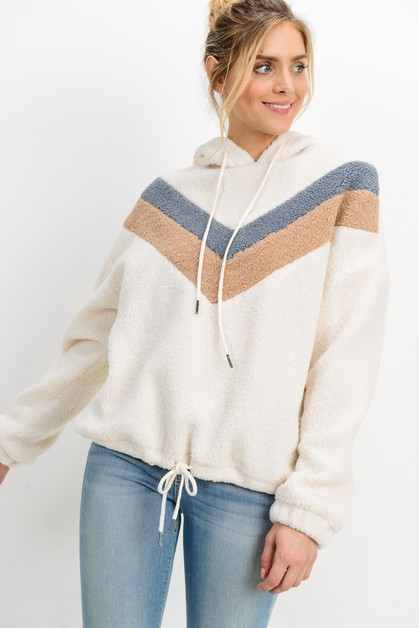 Wool Chevron Long Sleeve Hoodie - orangeshine.com