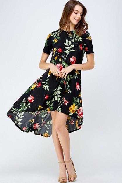 Floral High Low Fashion Dress - orangeshine.com