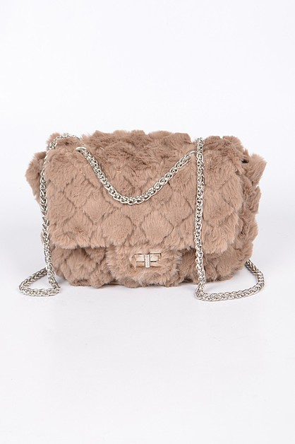 Faux Fur Fluffy Mini Clutch - orangeshine.com