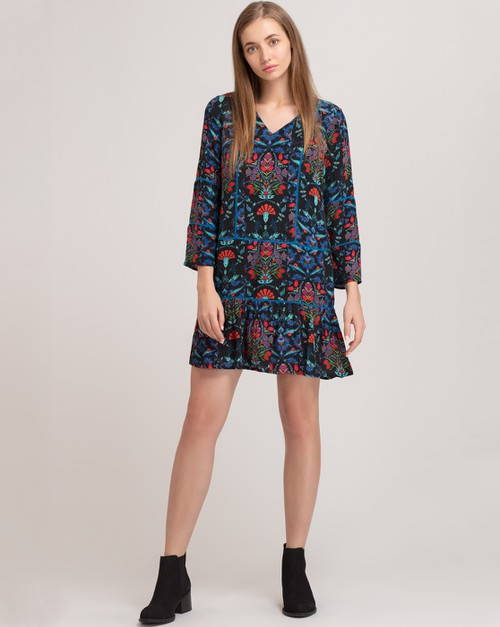 Blue Iznik Swing Dress - orangeshine.com