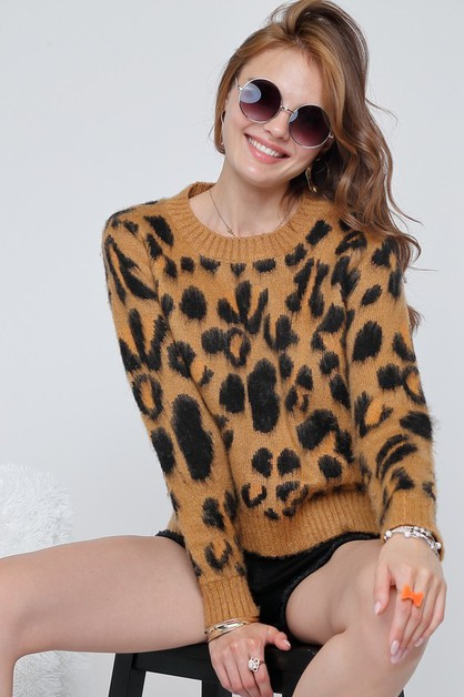 Leopard printed cozy sweater knit to - orangeshine.com