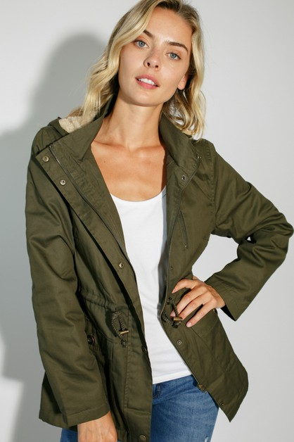 FAUX FUR LINED ZIPPER CLOSURE JACKET - orangeshine.com