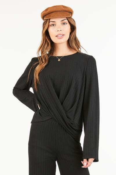 SOLID BOLD RIBBED LOOSE SLEEVE TOP - orangeshine.com