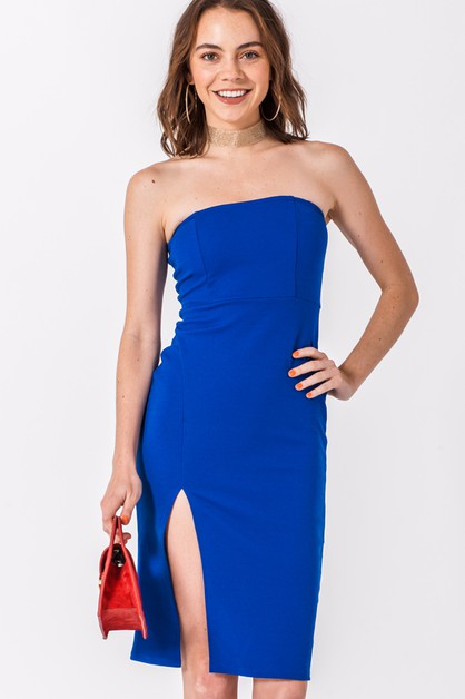 TUBE DRESS WITH FRONT SLIT - orangeshine.com
