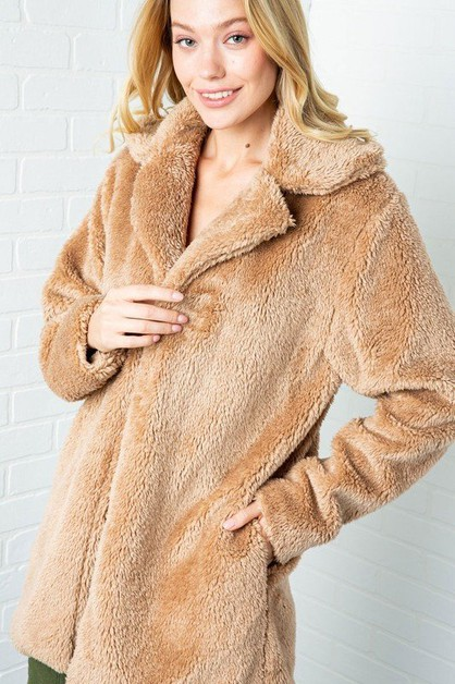 FUZZY HIGH COLLARED COAT WITH POCKET - orangeshine.com