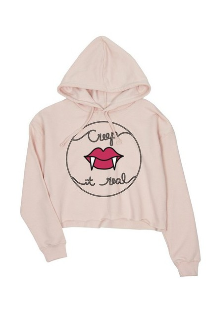 JCH010XX Creep It Real Crop Hoodie - orangeshine.com