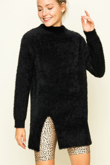 FUZZY HIGH NECK SWEATER - orangeshine.com