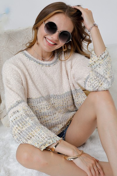 Round Neck Sweater Top with sequin - orangeshine.com