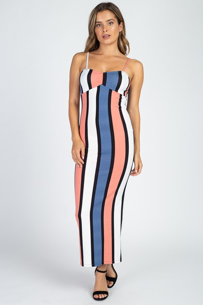 Multi Color Stripe Maxi Dress - orangeshine.com