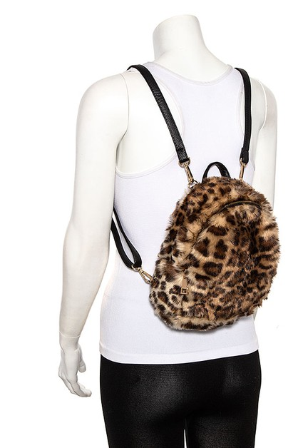 FAUX FUR MIX TONE BACKPACK - orangeshine.com