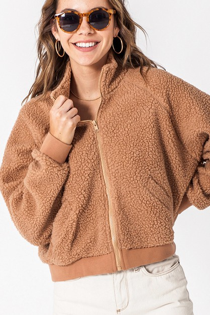 TEDDY HIGH NECK ZIP UP JACKET - orangeshine.com