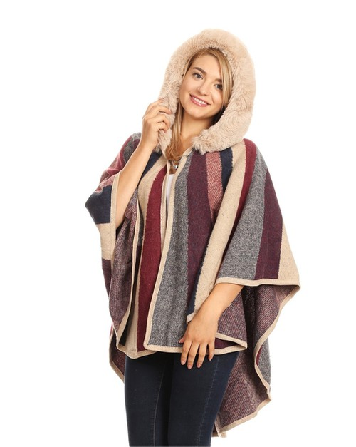STRIPE PRINT SHAWL WITH HOOD - orangeshine.com