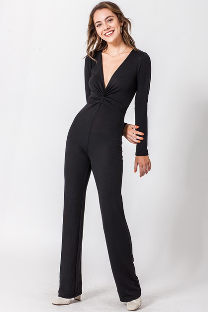 DEEP V JUMPSUIT WITH FRONT TWIST - orangeshine.com