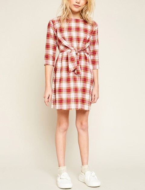 Flannel Dress With Front Tie Detail - orangeshine.com
