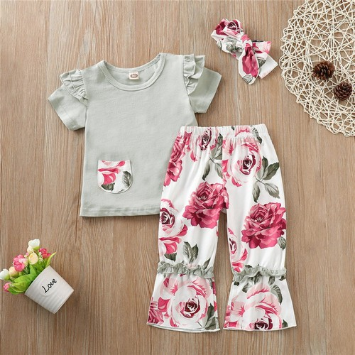 3PC Floral Ruflle pant set - orangeshine.com