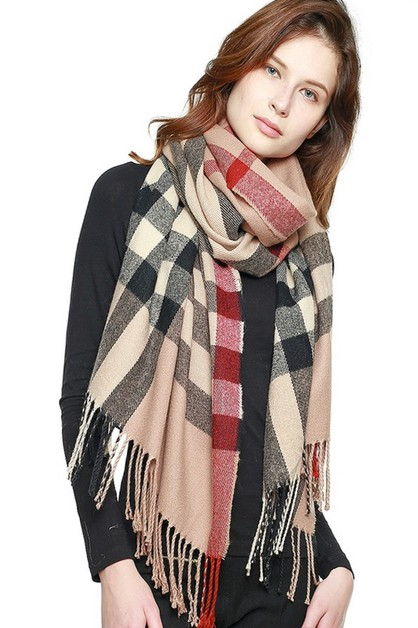 CLASSIC PLAID FRINGED SCARF  - orangeshine.com