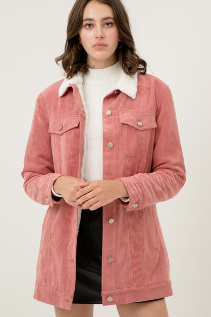 Fleece Lined Long Corduroy Jacket - orangeshine.com