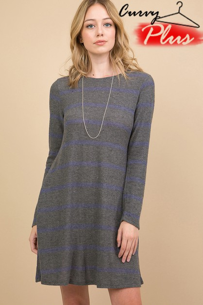 CASHMERE STRIPED LONG SLEEVE SWING D - orangeshine.com