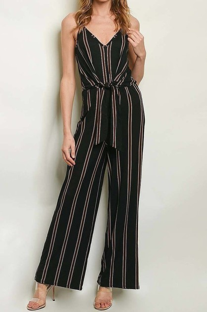 V NECK WAIST TIE WIDE LEG JUMPSUIT  - orangeshine.com