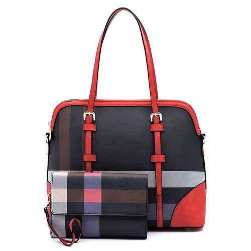 Plaid Check 2-in-1 Dome Satchel - orangeshine.com