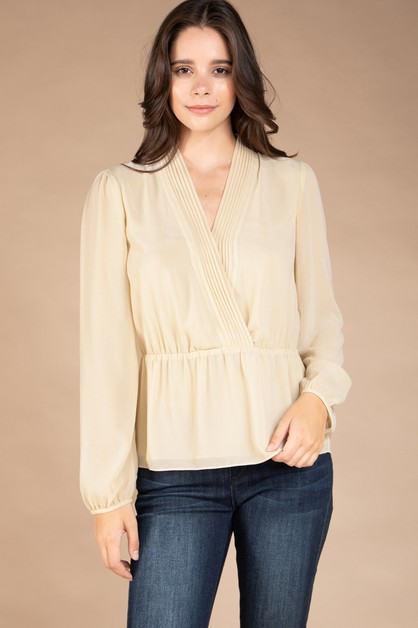 LONG SLEEVE REGULAR SHOULDER BLOUSE - orangeshine.com