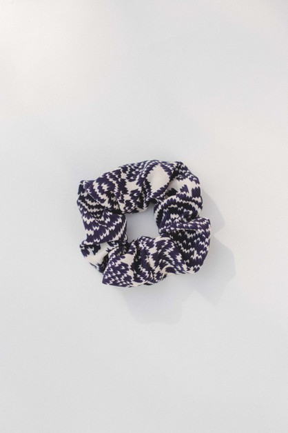 Navy Multi Print Scrunchie - orangeshine.com