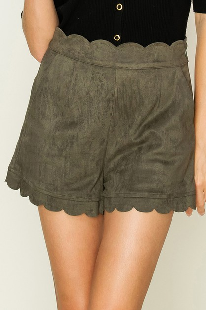 SUEDE SCALLOP DETAIL SHORTS - orangeshine.com