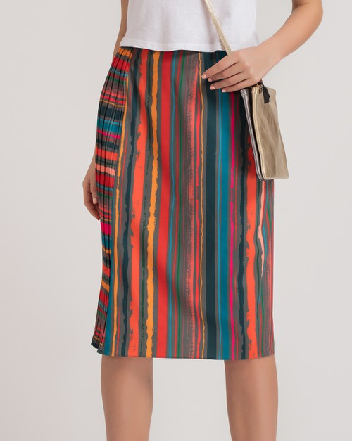 Stripe Pleated Pencil Skirt - orangeshine.com