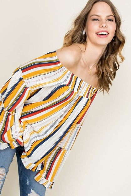 Off Shoulder Ruffle Multi Stripe Pri - orangeshine.com