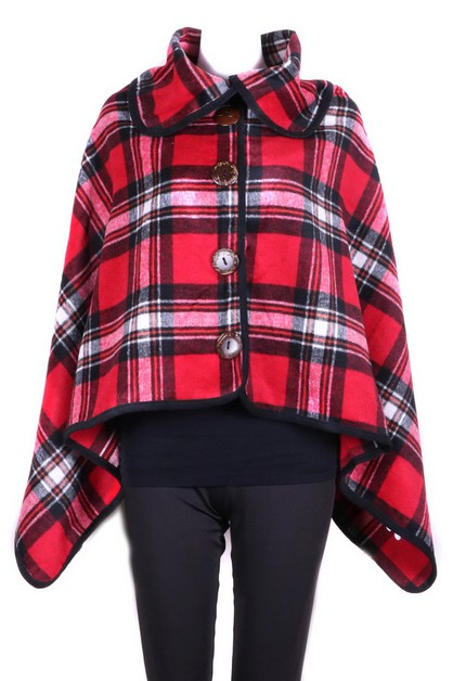 Plaid Button Poncho - orangeshine.com