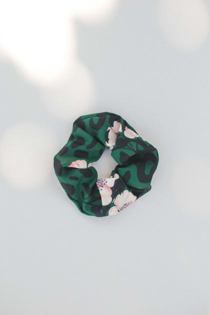 Green Pink Floral Scrunchie - orangeshine.com