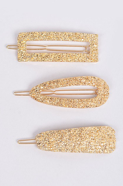 Hammered three piece set hairpins - orangeshine.com