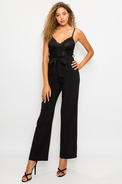 LACE SELF-TIE BELTED JUMPSUIT - orangeshine.com