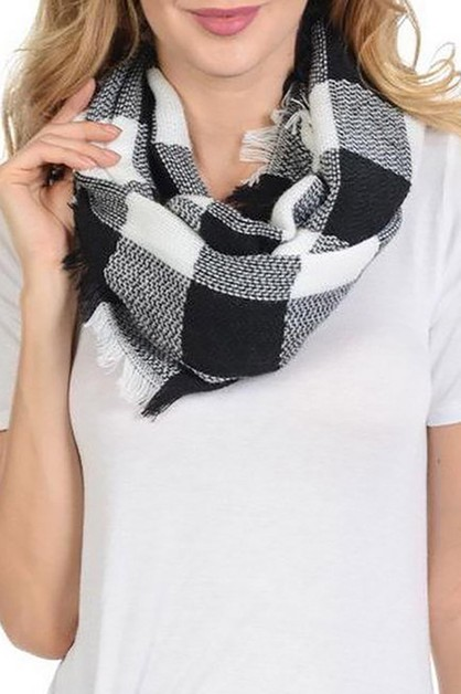 Plaid Pattern Infinity Scarves - orangeshine.com
