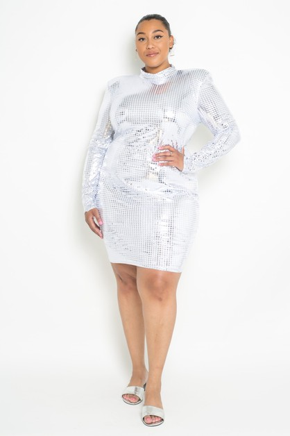 Plus Size grid foil print midi dress - orangeshine.com