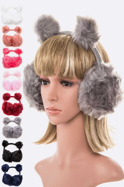Plush Fur Ears Earmuff Set - orangeshine.com