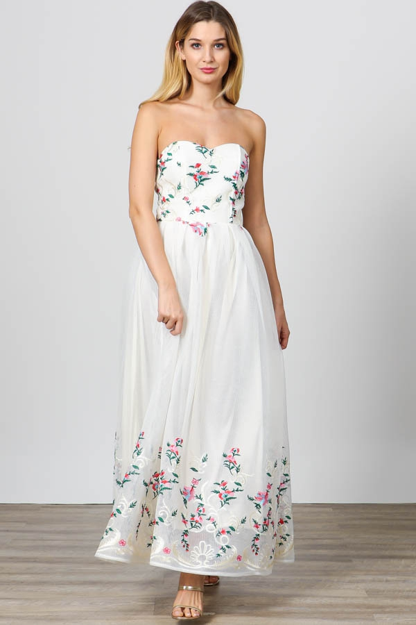 FLORAL STRAPLESS SWEETHEART MAXI  - orangeshine.com