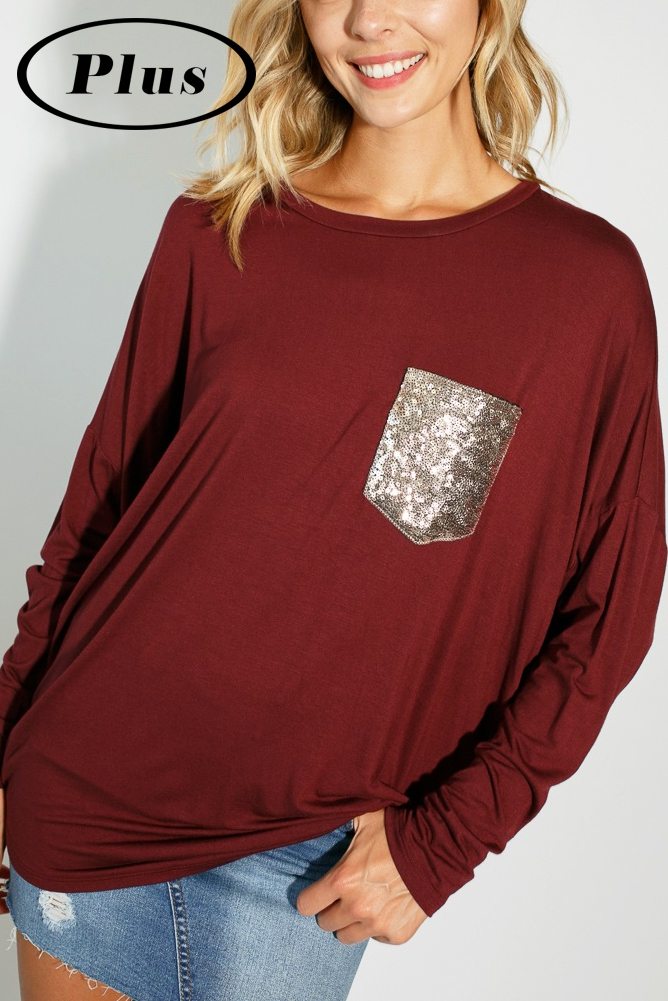 PLUS SEQUIN POCKET DOLMAN TOP - orangeshine.com