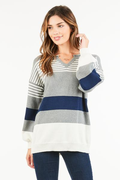 LONG BOYFRIEND STRIPED SWEATER - orangeshine.com