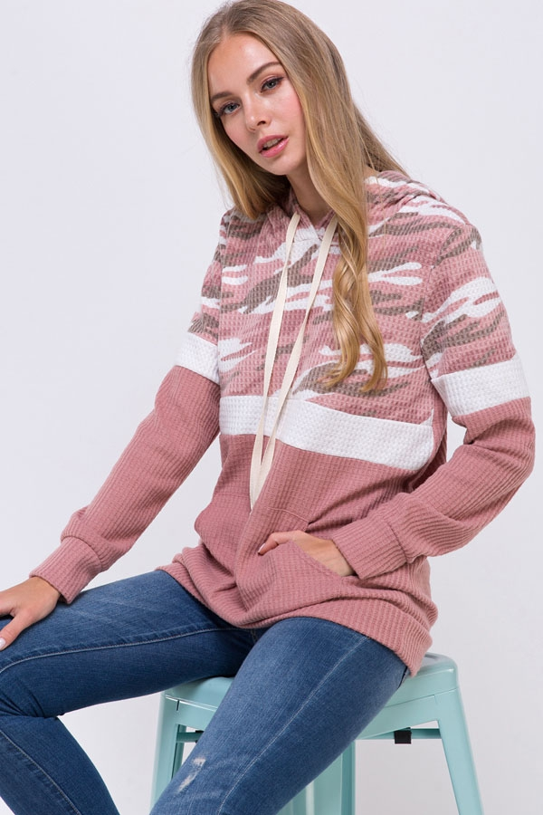 Camouflage Accent Color Block Hoodie - orangeshine.com