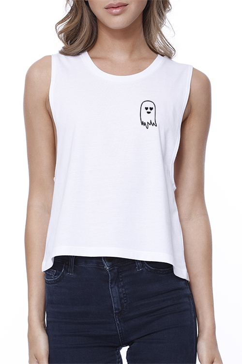JCR050 Cute Pocket Ghost Croptop - orangeshine.com