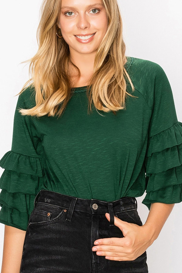 RUFFLE LAYER SLEEVE BOXY TOP  - orangeshine.com