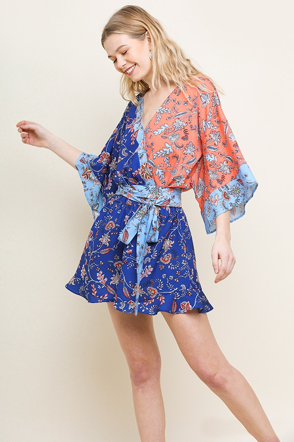 Floral Mixed Bell Sleeve Romper - orangeshine.com
