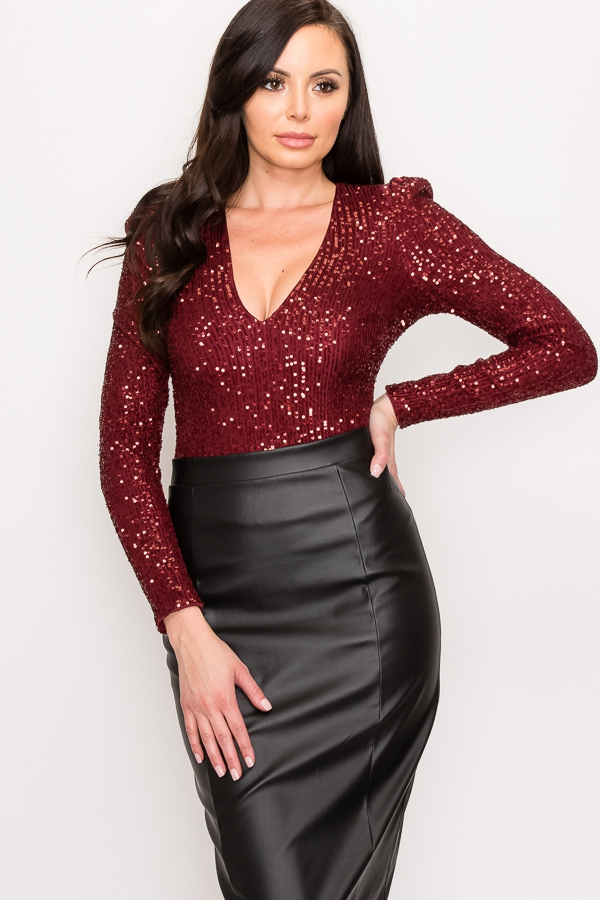 SEQUIN V-NECK PUFF SLEEVES BODYSUIT - orangeshine.com