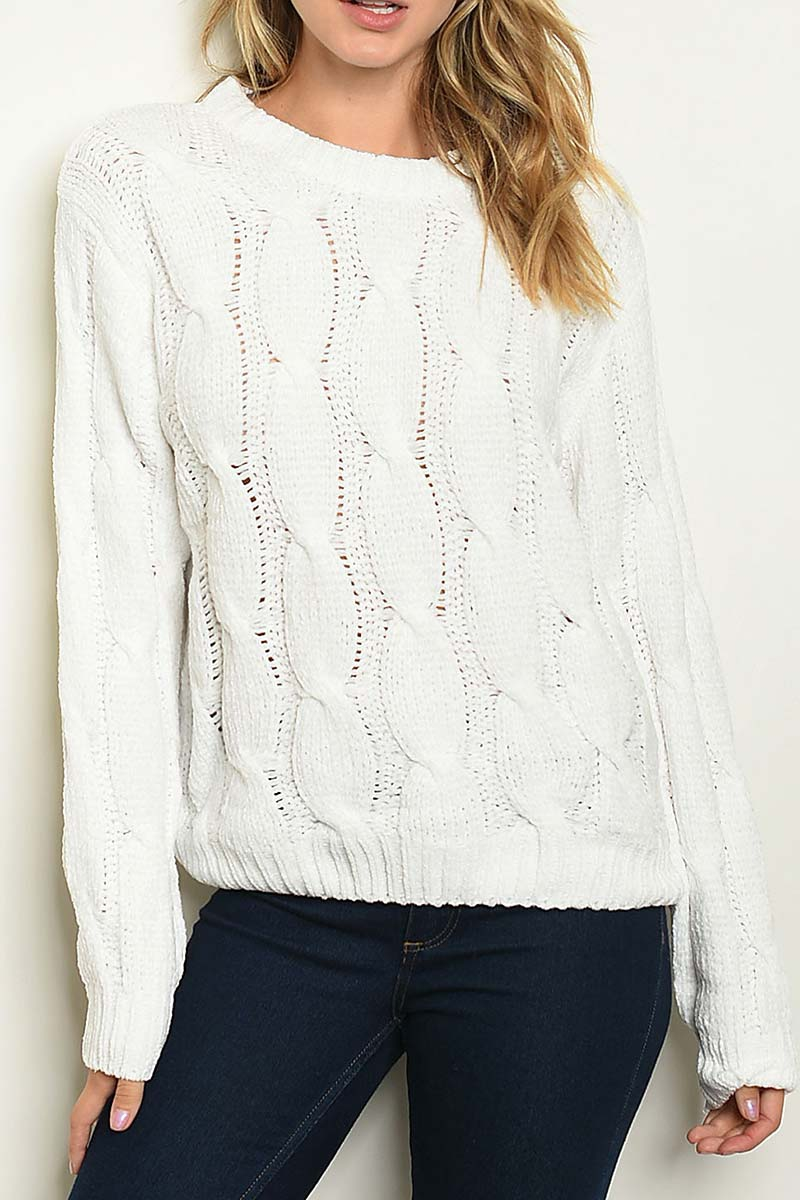 CABLE KNIT CHENILLE SWEATER  - orangeshine.com