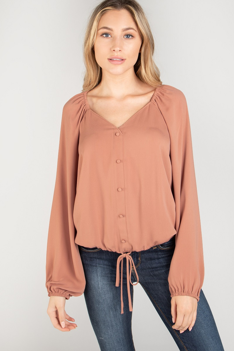 LONG SLEEVE BUTTON DOWN ELASTICIZED  - orangeshine.com