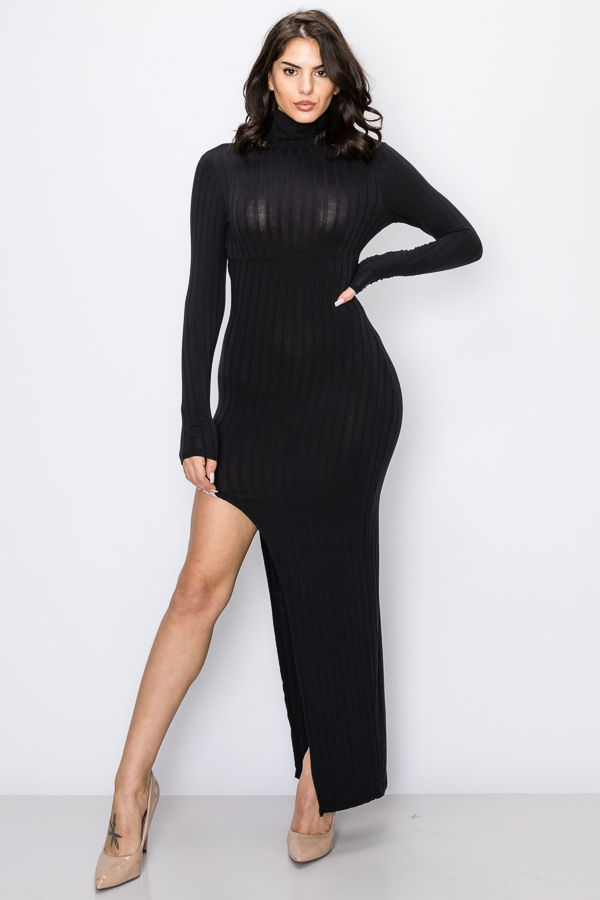 LONG SLEEVE HIGH NECK UNBALANCE DRES - orangeshine.com
