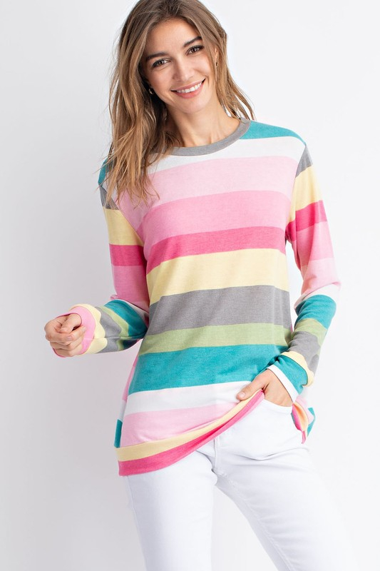 TY3737 LONG SLEEVE MULTI COLOR TOP - orangeshine.com