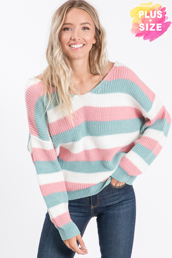 STRIPE SWEATER TOP WITH TWISTED BACK - orangeshine.com