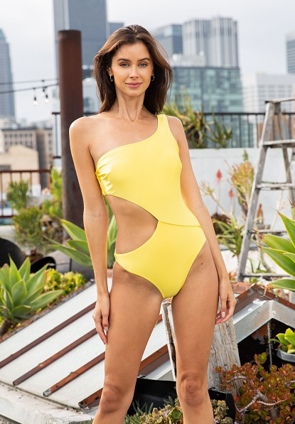 Cutout One Shoulder Swimsuit - orangeshine.com
